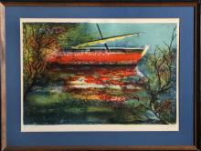 Red Row Boat, Lithograph