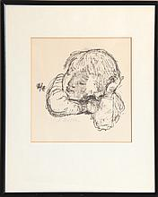 Alexander Dobkin, Child and Butterfly, Lithograph
