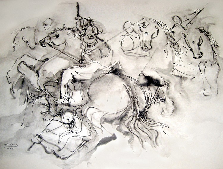 Houshang Seyhoun, The Arabian Horses, Ink Drawing
