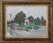 Dennis Paul Noyer, Waterfront House, Oil Painting