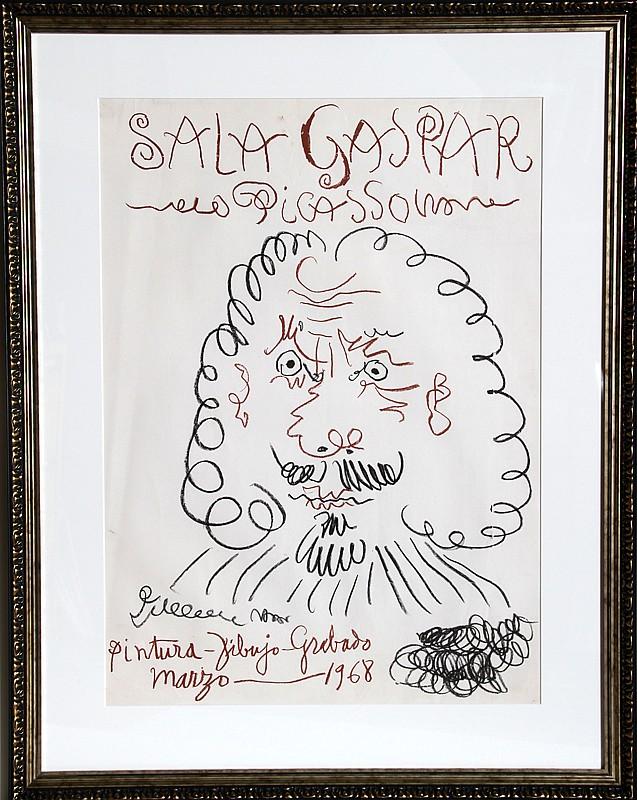 Pablo Picasso, Exhibition Sala Gaspar, Offset Lithograph Poster