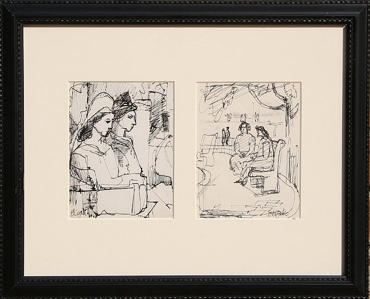 Elijah Silverman, NYC Park (Diptych), Ink Drawing