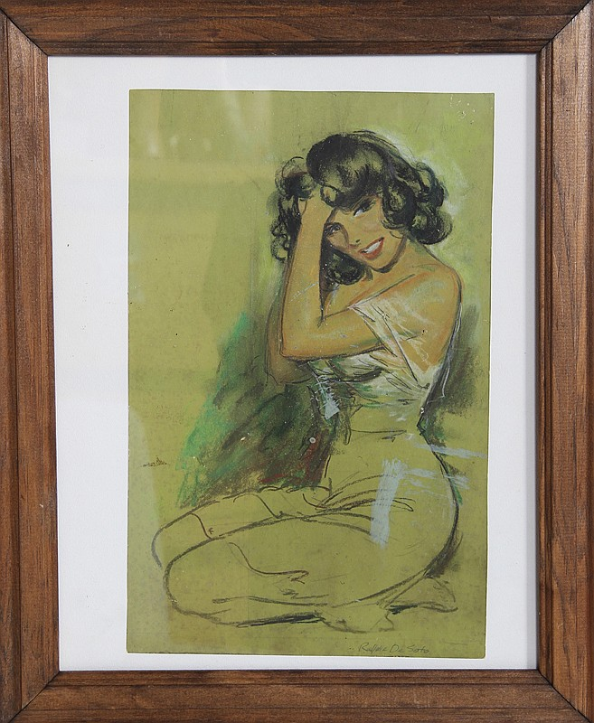 Rafael Desoto, Portrait of Woman in Green, Pastel Drawing
