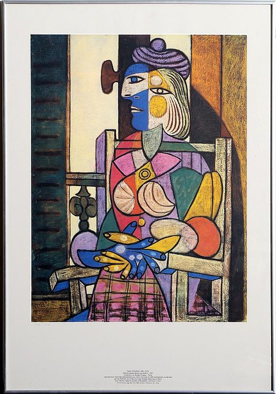 Pablo picasso femme assise devant sa fenetre lithograph for Fenetre translation