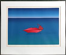 Jean-Michel Folon, Red Lips Boat, Serigraph