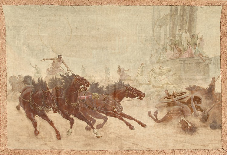 Roman Chariot Race, Gouache Painting on Cloth