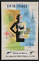 Jean Carlu, Fly to France: Panamerican Airlines Brazil, Lithograph Poster