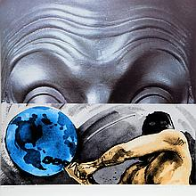 John Baldessari, Eyebrows Furrowed Foreheads Figure with Globe, 9-Color Silkscreen
