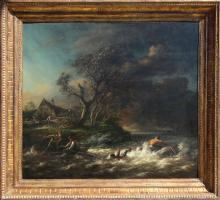 Capsized Boat in a Raging River, Oil Painting