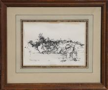 Norman Sasowsky, Landscape Study, Ink Drawing