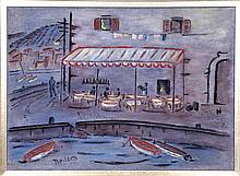 Winthrop Neilson, Harbor Cafe (Ischia), Oil Painting