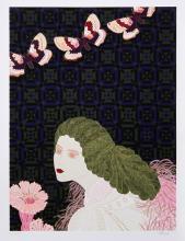 Daniele Akmen, Woman with Flower, Serigraph