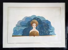 Erte, The Storm, Embossed Serigraph with Foil
