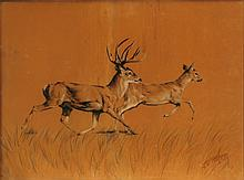 Jean Ettner, Deer Run, Pastel Drawings on Velvet