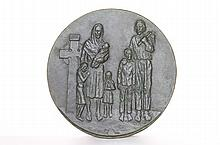 Christian Family, Bronze Plate