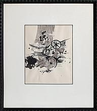 Shlomo Koren, Untitled - Abstract with Bicycle (12), Ink and Wash Drawing