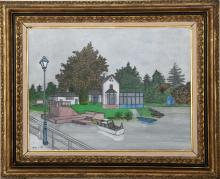 Denis Paul Noyer, Waterfront House, Oil Painting