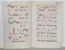 Four Hand-Painted Vellum Music Sheets Spanish Antiphonary