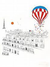 Mori Shizume, Balloon Over Paris, Silkscreen