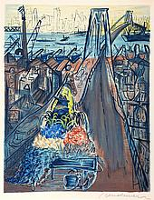 Ludwig Bemelmans, Horse and Cart on the Brooklyn Bridge, Lithograph
