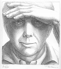 George Tooker, Self-Portrait, Lithograph