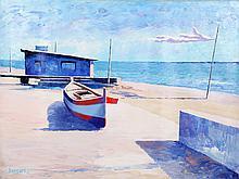 Bassari, Seaside One Boat, Oil Painting