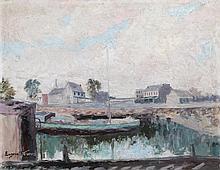 Eugene Stevens, Boat Dock, Oil Painting