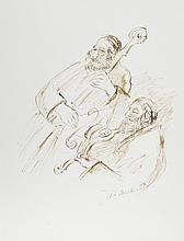 Ira Moskowitz, Two Double Bass Players, Ink Drawing