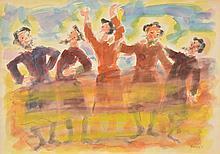 Moshe Raviv (aka Moi Ver), Five Jewish Men Celebrating, Watercolor Painting