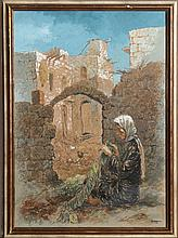 William Weintraub, Woman and Village, Gouache Painting