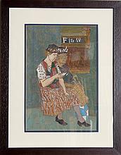 Joseph Solman, Two Women, Gouache Painting on Racing Form Newspaper