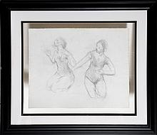 Moses Soyer, Two Dancers and Seated Dancer (Double-Sided), Pencil Drawing