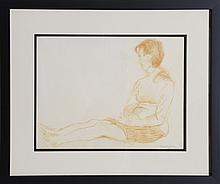 Raphael Soyer, Seated Girl, Sepia Pencil Drawing