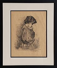 Raphael Soyer, Pensive Girl, Charcoal Drawing