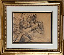 Raphael Soyer, Dancers Dressing, Charcoal Drawing