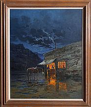 Jorge Braun Tarallo, Saloon, Oil Painting