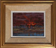 Richard Florsheim, Fire - Low Tide, Oil, Wax and Gesso Painting