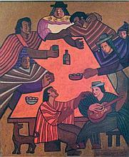 Victor Delfin, Adios Pueblo de Ayacucho, Oil Painting