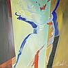 Alfred Gockel, Swinging Angel, Acrylic with Tar