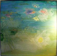 Florence Hasenflug, Abstract Waterlilies, Oil Painting