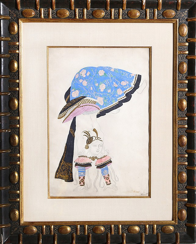 Leon Bakst, Costume Design: The Acrobat, Watercolor, Gouache & Drawing