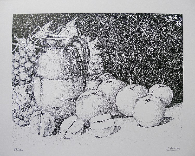 Stelios Votsis, Still Life with Pitcher and Fruit, Print