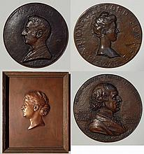 4 Metal relief medallions and plaque
