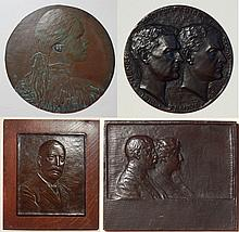 4 Bronze relief plaques and medallion