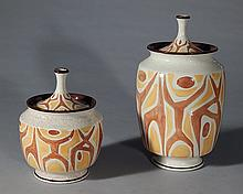 2 Red Wing Pottery covered jolly jars