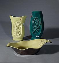 Red Wing Art Pottery 2 vases and 1 dish