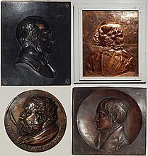 4 Metal relief plaques and medallion