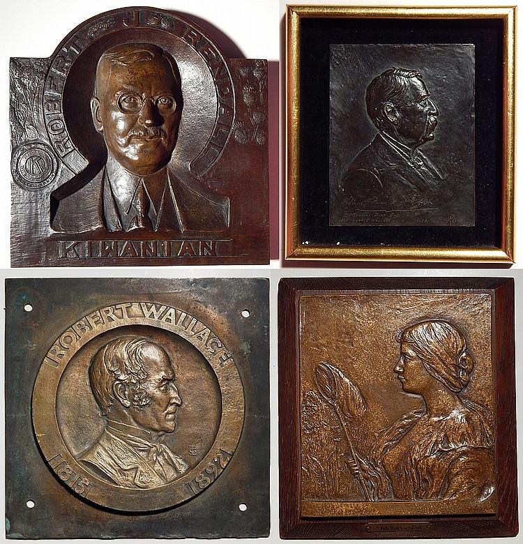 4 Bronze relief plaques