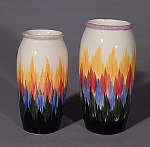 2 Hand-painted German pottery vases