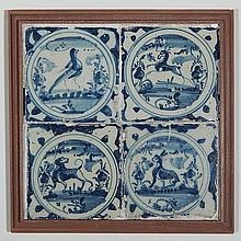 Set of 4 17th c. Dutch blue and white tiles